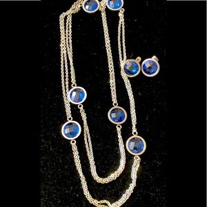 "Necklace & earrings set blue Austrian Crystal 34"""